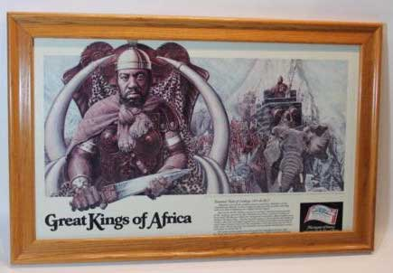 "Budweiser Great Kings of Africa ""Hannibal-Ruler of Carthage"" 247-183 B.C. Framed"