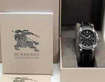 Britain Luminova Black Leather Burberry Men's Chrono Watch BBY1100