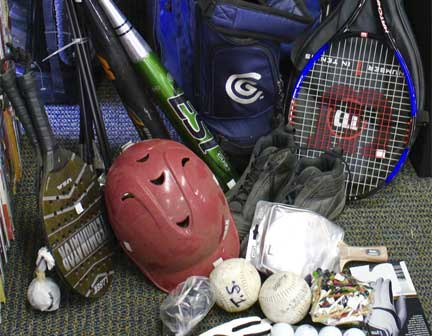 we buy and sell foot ball, base ball, soccer, hockey, golf and more equipments